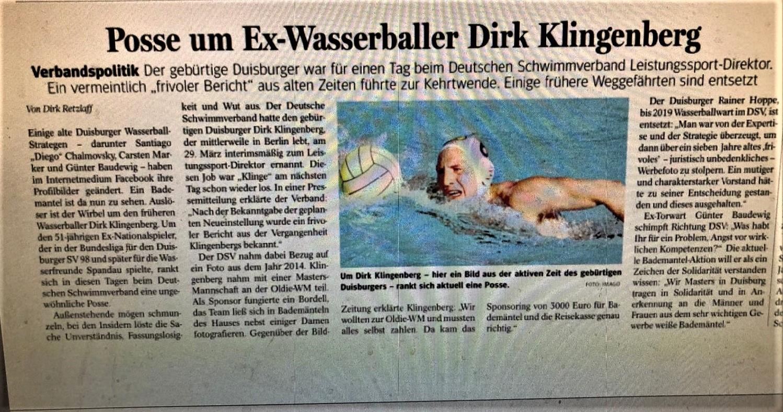 Posse um Ex-Wasserballer Dirk Klingenberg